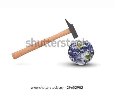 digital render of a hammer hitting Earth showing America - stock photo