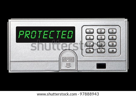 Digital safety deposit box panel with protected wording on the screen panel - stock photo