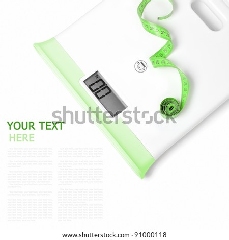 Digital scales on white background (with sample text) - stock photo