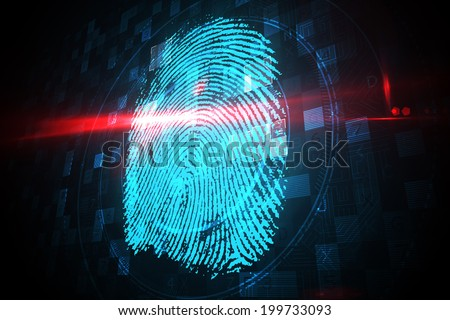 Digital security finger print scan in blue and black - stock photo