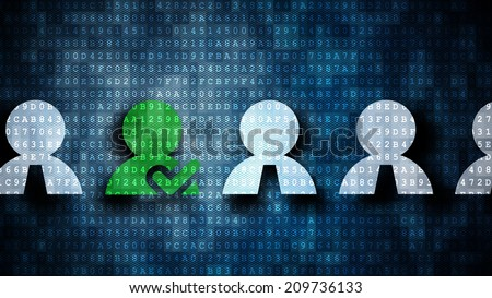 digital selection of a person out of many others - stock photo