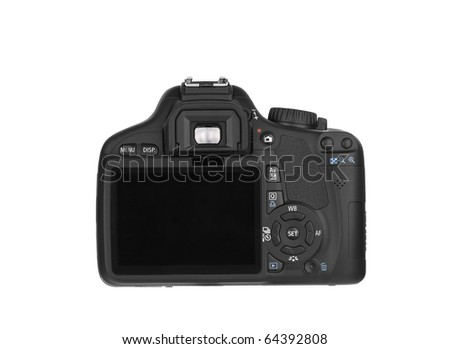 Digital Single Lens Reflex-back (clipping path) on white background - stock photo