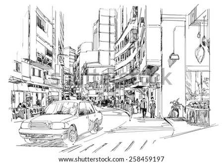 digital sketch of modern cityscape.Illustration. - stock photo