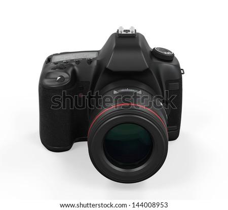 Digital SLR Camera Isolated - stock photo