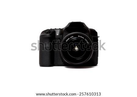 Digital SLR Camera Isolated - stock photo