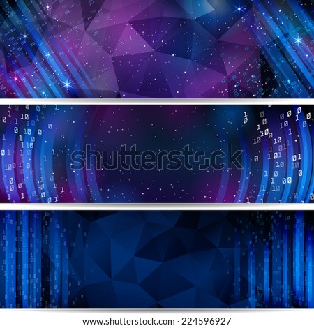 Digital Space. Background with stars and numbers. Raster Version. - stock photo