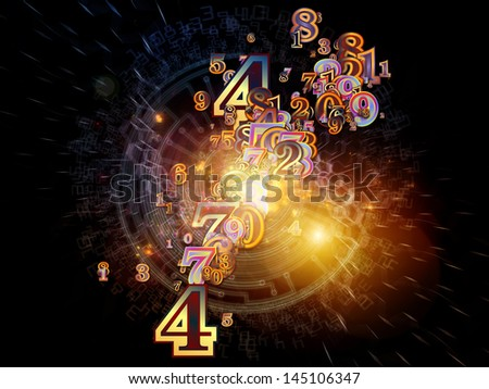 Digital Splash series. Abstract composition of numbers, gradients and fractal elements suitable as design element in projects related to mathematics, computers, science and modern technologies - stock photo