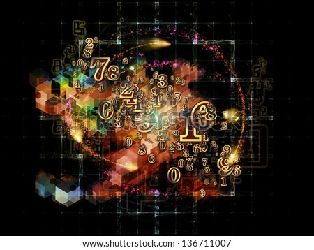 Digital Splash series. Composition of numbers, gradients and fractal elements suitable as a backdrop for the projects on mathematics, computers, science and modern technologies - stock photo