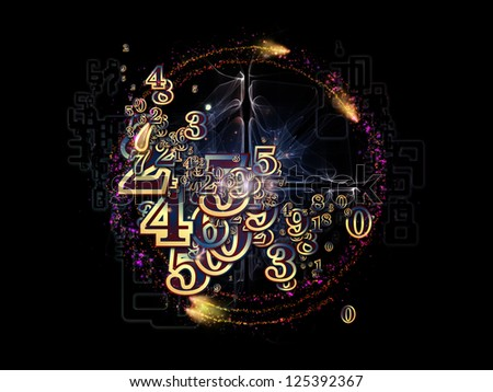 Digital Splash series. Design made of numbers, gradients and fractal elements to serve as backdrop for projects related to mathematics, computers, science and modern technologies - stock photo