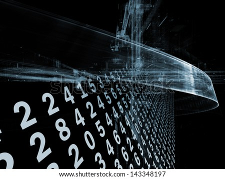 Digital Streams series. Abstract design made of numbers, lights and design elements on the subject of digital communications, data transfers and virtual reality - stock photo