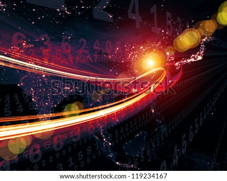 Digital Streams series. Artistic background made of numbers, lights and design elements for use with projects on digital communications, data transfers and virtual reality - stock photo