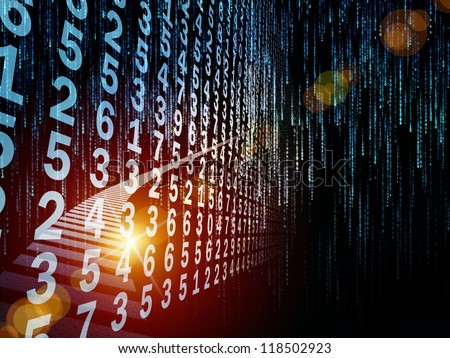 Digital Streams series. Composition of  numbers, lights and design elements to serve as a supporting backdrop for projects on digital communications, data transfers and virtual reality - stock photo