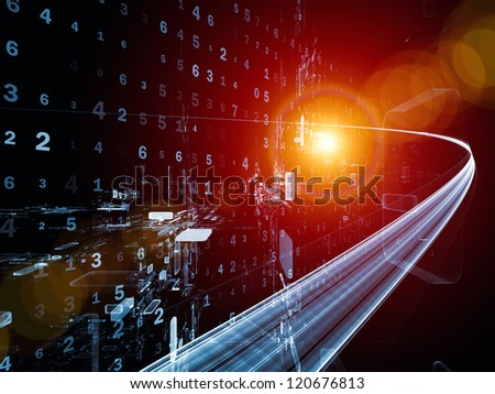 Digital Streams series. Interplay of numbers, lights and design elements on the subject of digital communications, data transfers and virtual reality - stock photo