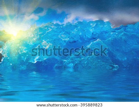 Digital structure of painting. Ice in Antarctica with the sun - stock photo