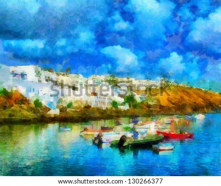 Digital structure of painting.  seascape - stock photo