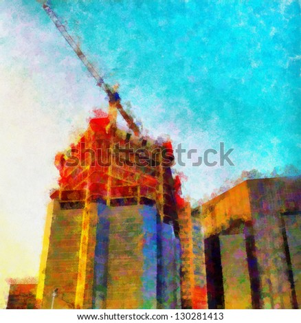 Digital structure of painting. Skyscraper under construction - stock photo