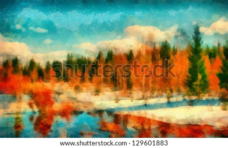 Digital structure of painting. Snowy coastline in forest - stock photo