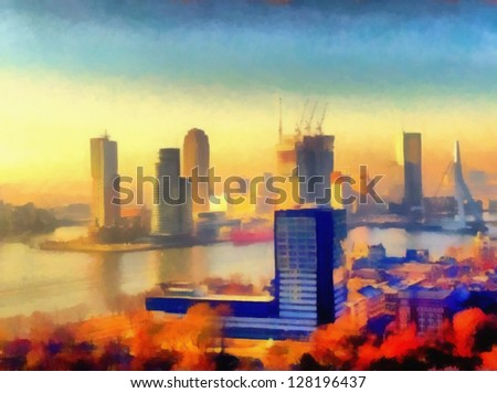 Digital structure of painting. Spanish embankment - stock photo