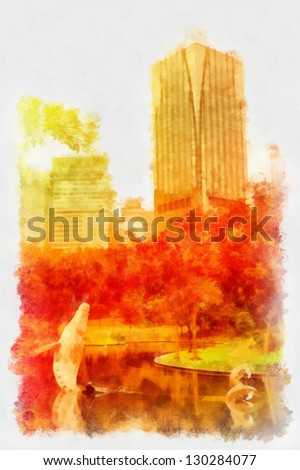 Digital structure of painting. Sunny city park - stock photo