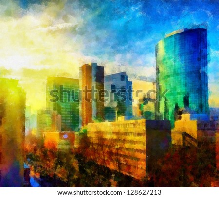 Digital structure of painting. Sunny cityscape - stock photo