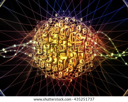 Digital Swirl series. Background design of digits and technological patterns on the subject of math, science and education - stock photo