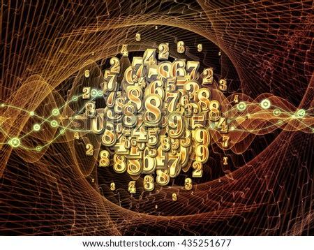 Digital Swirl series. Composition of digits and technological patterns on the subject of math, science and education - stock photo