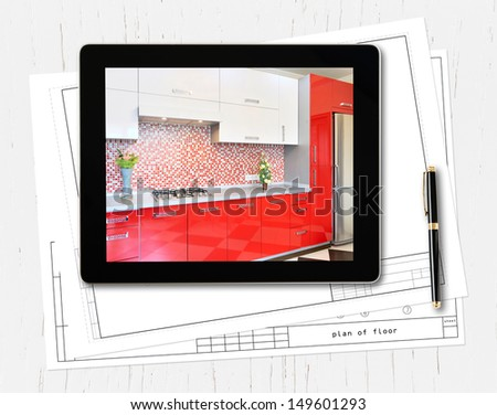 digital tablet computer and interior image on screen - stock photo