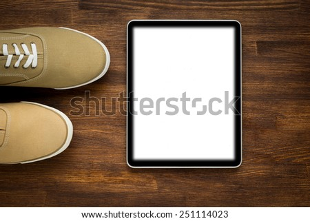 Digital tablet computer, networks concept isolated screen on old wooden  - stock photo