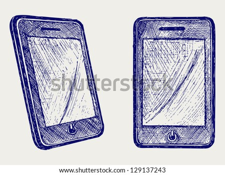 Digital tablet. Doodle style. Raster version - stock photo