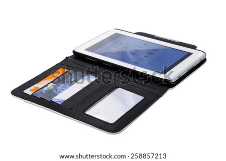 digital tablet in an open cover on a white background  - stock photo