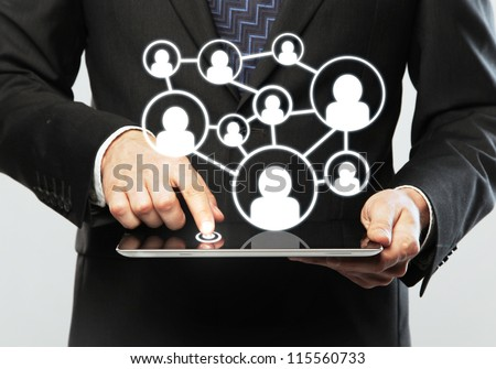 digital tablet in hand, social media concept - stock photo