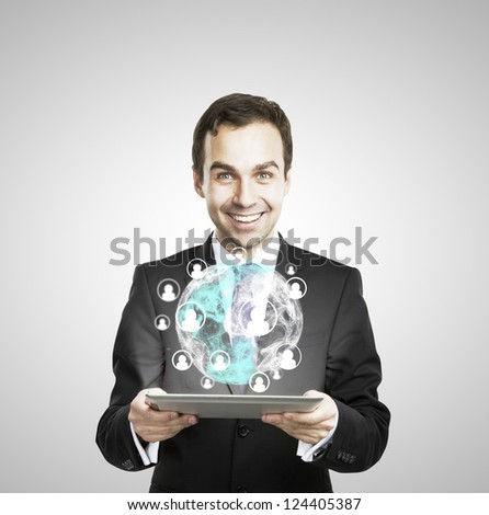 digital tablet in hand with interface earth - stock photo