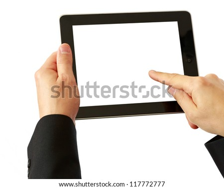 digital tablet in hands - stock photo