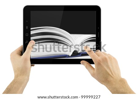 digital tablet in hands isolated over white background with book on a background - stock photo