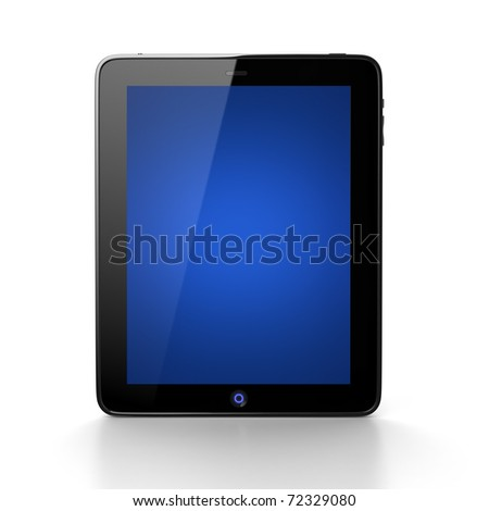 Digital tablet with blue screen - stock photo