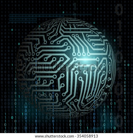 Digital technology background. Abstract background. Binary code. Stock illustration - stock photo