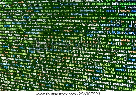 Digital technology background. Programming code abstract screen of software developer. Computer script, function. Green color. MORE SIMILAR IN MY GALLERY - stock photo