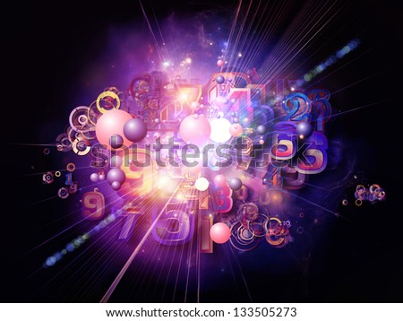 Digital Technology series. Backdrop of numbers, symbols and fractal elements on the subject of science, information and modern technology - stock photo