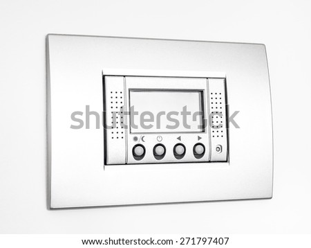 Digital thermostat isolated on white background, empty display - stock photo