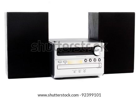 digital usb and cd player against the white background - stock photo