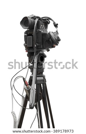 Digital video camcorder for use Television Professional studio and headphone isolated on white background with clipping path - stock photo