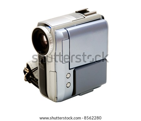 Digital Video Camera, front view - stock photo