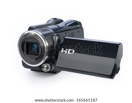 Digital video camera isolated on white background - stock photo