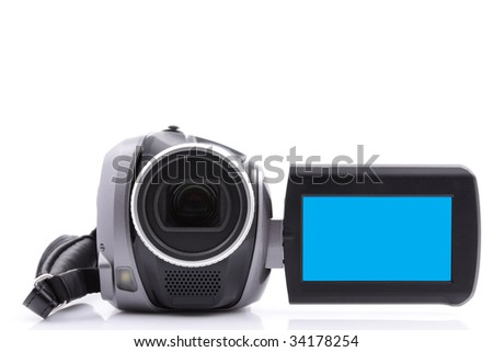 Digital video camera with empty display - over white background - stock photo