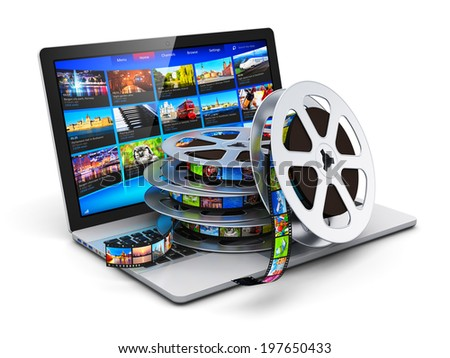 Digital video, mobile streaming media and film cinema industry production concept: mobile laptop or business notebook computer PC and stack of rolls with filmstrips isolated on white background - stock photo