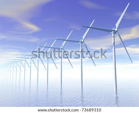 Digital visualization of a wind generator - stock photo