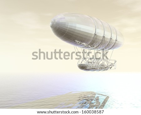 digital visualization of an airship - stock photo
