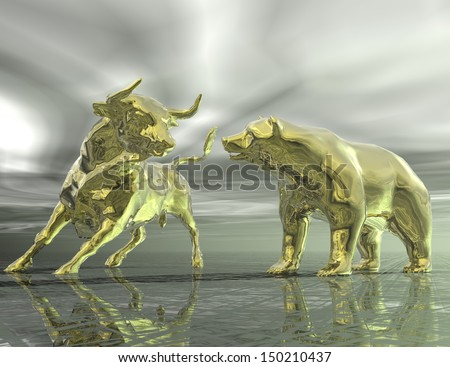 digital visualization of bull and  bear - stock photo