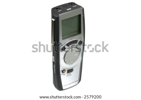 Digital voice recorder standing upright isolated against a white background - stock photo