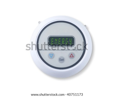 Digital wall thermostat indicating energy - stock photo